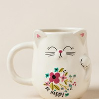 Be happy lucky cat shaped mug