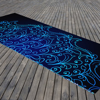 Blue and Green Meditation Mandala Yoga Mat