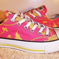 Converse All Star New Womens sz 7 pink yellow floral Canvas Sneakers Low Top