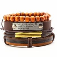 Multilayer Bead Woven Genuine Leather Bracelet