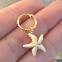 White Turquoise Starfish CBR Captive Bead Ring Hoop