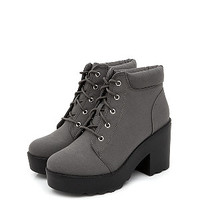 Wide Fit Grey Canvas Lace Up Chunky Block Heel Ankle Boots