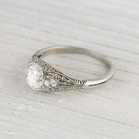 1.02 Carat Vintage Cushion Cut Diamond Engagement Ring
