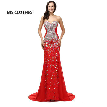 Real Pictures Abendkleid Crystal Mermaids Floor Length Red Black Royal Blue Prom Dress