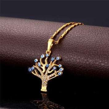Necklaces Evil Eye pendants 18K Real Gold Plated great Tree pendant