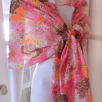 Vintage Mod Flower Power Scarf / Shawl, Neon Pink Floral 60's Scarf Wrap