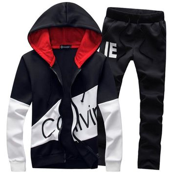 Casual sporting suit men hooded tracksuit track polo men's sweat suits set zipper patchwork letter print large size 5XL big