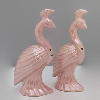 Vintage Pink Birds Ceramic Salt and Pepper Shakers Kitchen Collectible Lusterware