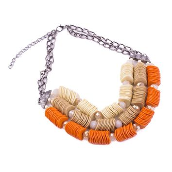 GuanLong Unique Design Three Layer Irregular Beads Necklaces For Women Vintage Style Statement Jewelry