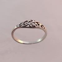 Skinny 14 k Gold 14 kt Gold or Sterling Silver Ring Cute Ornamental Wedding Ring Sizes 4, 5, 6, 7, 8, 9, 10, 11