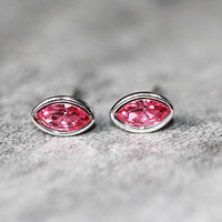 Red Crystal Stud Earrings Sterling Silver by Fashnin.com