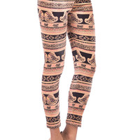 Aoki Fashion - Velvet Feel Butterfly Print Leggings