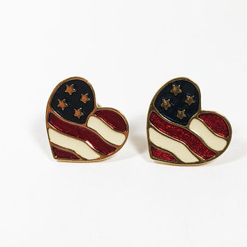 Avon Patriotic Heart Earrings, Red White Blue Hearts Studs for Pierced Ears