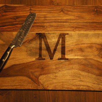Medium (10x15) - LARGE(12x16) Sheesham Wood Chopping Block Cutting Board Gift Personalized Custom Family Monogram Initial house home present