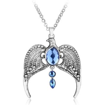 Hogwarts Ravenclaw Vintage Antique Silvery Horcrux Eagle Crown Diadem Pendant Necklace Charm Gift For Women Fans Movie Jewelry
