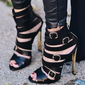 Black Smooth Leather Buckles Open Toe Sandals Gladiator Blade High Heel Shoes