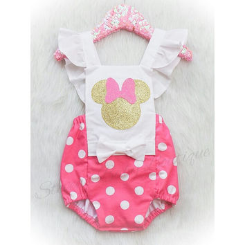 Baby Pink & White polka dot Minnie Mouse inspired Romper/Sunsuit