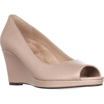 naturalizer Olivia Peep-Toe Wedge Pumps - Taupe Leather