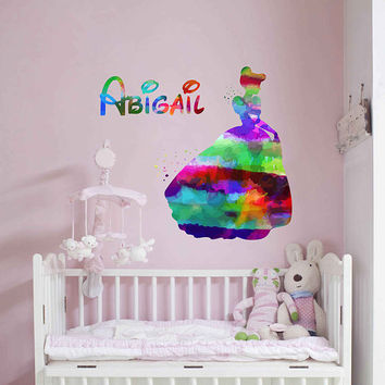kcik2044 Full Color Wall decal Watercolor Character Disney Sticker Disney children's room Cinderella Sticker Disney Girl name Child's name