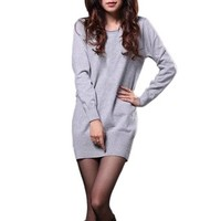 Red Gray Black Women's Jumper Knit Long Sleeve Pullover Sweater Long Shirt Dress