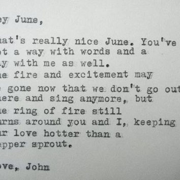 LOVE LETTER By JOHNNY Cash To June Carter Typed On A Vintage Typewriter