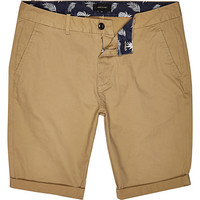 River Island MensBrown tan skinny chino shorts