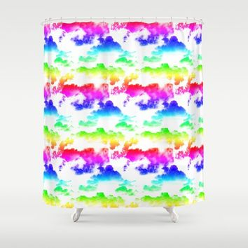 Rainbow Clouds Pattern on White by WickedRefined - Nicole Demereckis