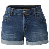 LE3NO Womens Cuffed Medium Rise Denim Shorts with Stretch (CLEARANCE)