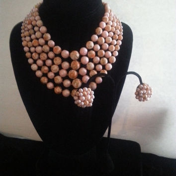NOW ON SALE Vintage Peach 5 Strand Beaded Necklace Set * Signed Japan Collectible * Retro Rockabilly Glam Jewelry
