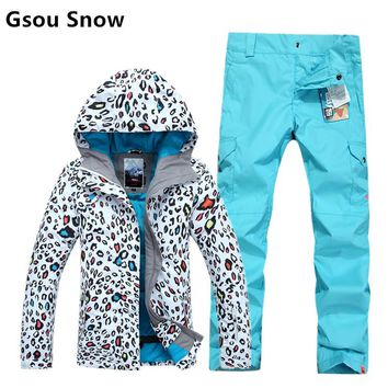 Gsou snow womens leopard ski suit female snowboard set leopard print jacket and blue pants pure candy color pants high quality