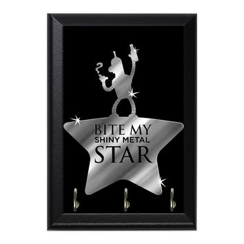 Bite My Shiny Metal Star Decorative Wall Plaque Key Holder Hanger