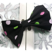 Black with polka dots teens hair bow for back to school - woman's fabric hair bow