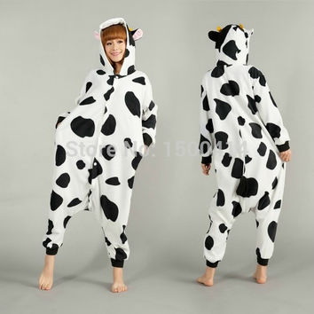 Animal Adult Costume Cow Onesuit Pajama Halloween Carnival Masquerade Party Jumpsuit Clothing