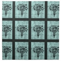 Flower Silhouettes Cyan Dinner Napkins by Janz