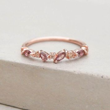 Cluster Ring - Rose Gold + Pink