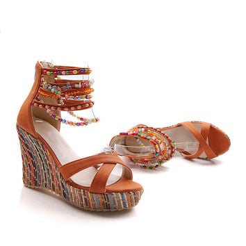 Sandals Bohemia Wedge Handcrafts Platform Shoes [11285947087]