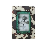 """Cowgirl Kim Wooden Printed Cowhide Picture Frame~ 4"""" X 6"""""""