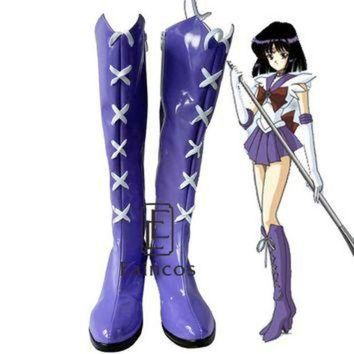 DCK7YE Anime Sailor Moon Sailor Saturn Cosplay Party Shoes Purple Fancy Boots Customized Size