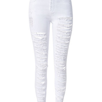 White Rip Detail Zippered Jeans