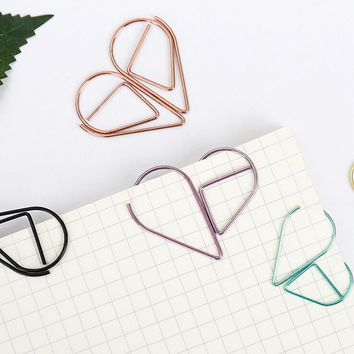 10 pcs/lot Metal Material Water Drop Shape Memo Paper Clips funny kawaii bookmark office shool stationery marking clips