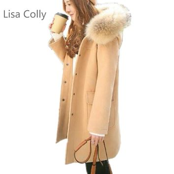 Lisa Colly Winter Coat Wool coat overcoat Women Warm Coat Outwear Long Wadded Hooded snow Parka thickness Cotton casual Jacket