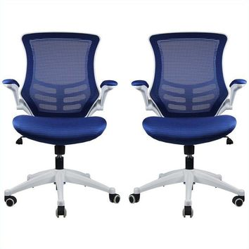 Lenox Mesh Adjustable Office Chair in Royal Blue- Set of 2