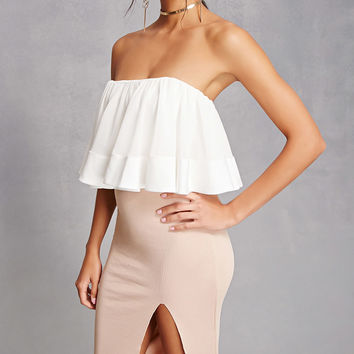 Sheer Ruffle Crop Top