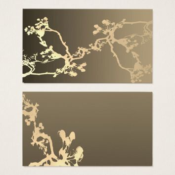 business card template original nature art sepia