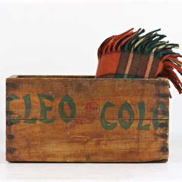 Cleo Cola Wood Crate, 1939 Cleo Cola Wood Crate, Rare Cleo Cola Wood Crate, Vintage Cleo Cola Crate, Cleo Cola Soda Crate