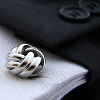 Cufflinks - Silver Cuff Links - Knot Cufflinks - Special event Gift for men by Terrence Macbeth