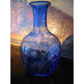 Art Deco Deep Blue Glass Bud Vase Hand Decorated Etched Floral Decanter