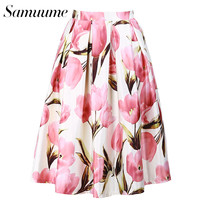 Samuume Fashion Tulip Printed Women Pleated Skirt 2017 New Elastic High Waist Umbrella Skater  Midi Skirts Female Saias A1703045