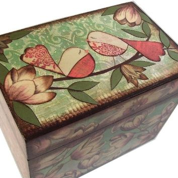 Recipe Box 4x6 MADE To ORDER  Decoupaged  See Listing- This Box Is LARGE and Crafted by Hand of Wood