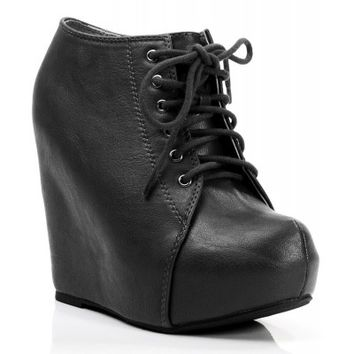 New Soda Jello Vegan Lace Up Almond Toe Platform Wedge Bootie BLACK